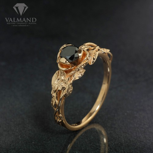Forest design engagement ring from Gold or Platinum with Black Diamond i764dn