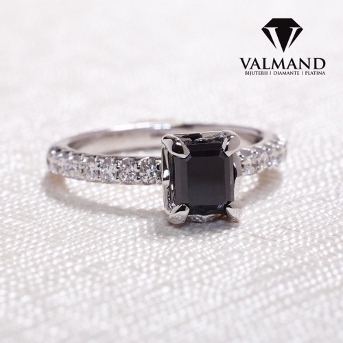 Gold or Platinum engagement ring with Black Emerald cut Diamond and secondary Diamonds i1186