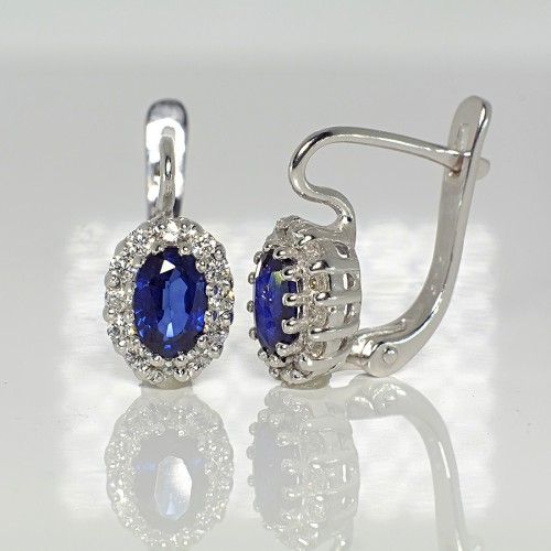 Gold earrings with Sapphires and Diamonds 072SfDi