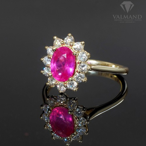 Gold engagement ring with Ruby and Diamonds 055RbDi