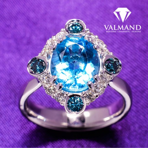 Gold anniversary and engagement ring with Swiss Blue Topaz and Diamonds i1167Tpswdbdi
