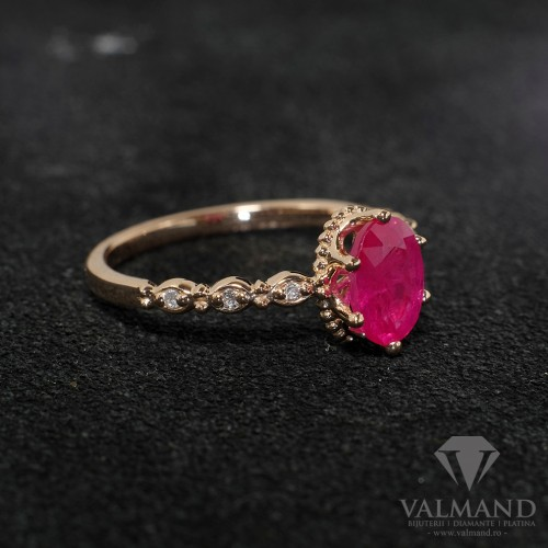 Gold engagement and anniversary ring with Oval cut Ruby and Diamonds 616RbODi