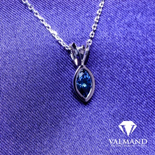 Gold pendant with Marquise cut Blue Diamond pan1151