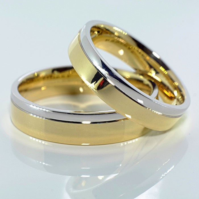 Two Tone Gold Wedding Bands V010