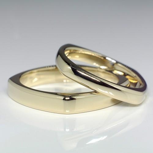 Gold Square Comfort Fit Wedding Bands v025