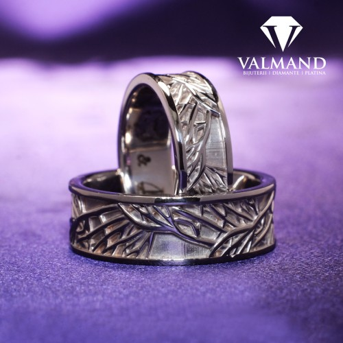 Gold or Platinum wedding bands inspired by nature v1253