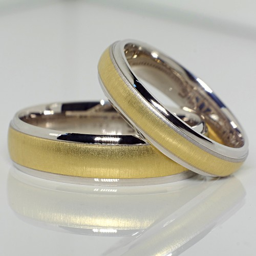 Two-Tone Gold wedding bands v128